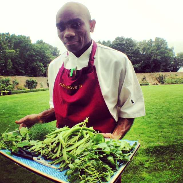 Veggies picked fresh from the vast Walled Garden - to be included in the evening's meal!