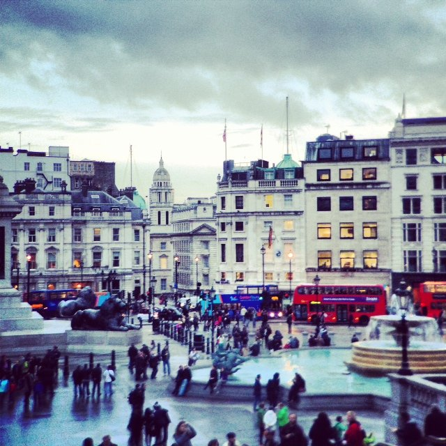Here's the view from the National Gallery looking onto Trafalgar Square. Don't miss the museum's free Sunday kids art activities.