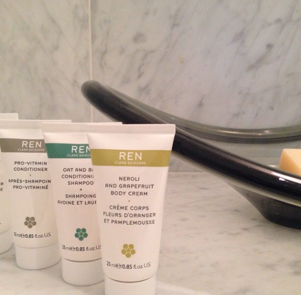 These REN toiletries were waiting for me At The Chapel. Perfect for a long leisurely bath in the freestanding tub. #relax