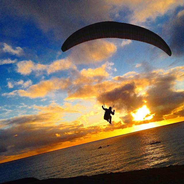 We visited Goat Rock Beach at sunset, and caught this paraglider taking off.