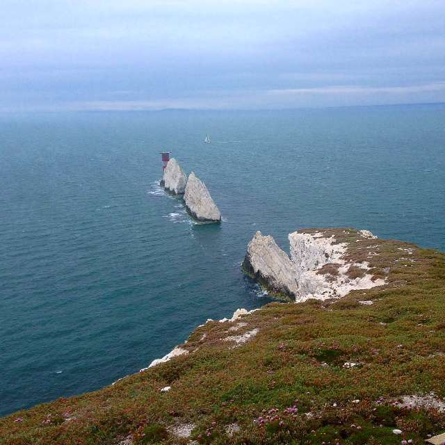 The Needles Rocks as viewed from the Needles Old Battery tunnel viewing point