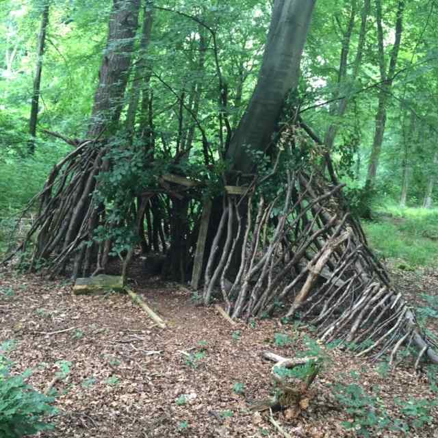Here's the finished den. It had three rooms and table and chairs inside!