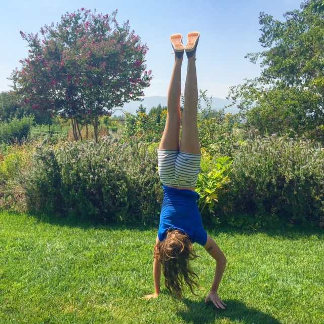 Frog's Leap Winery has a wonderful garden for kids to explore with their parents. What is it about teens and handstands?