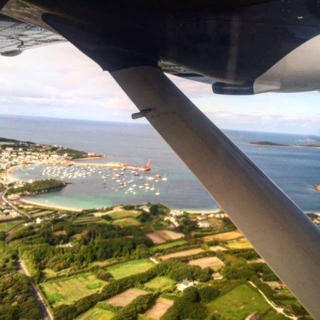 The view from Skybus leaving St Mary's in the Islands of Scilly