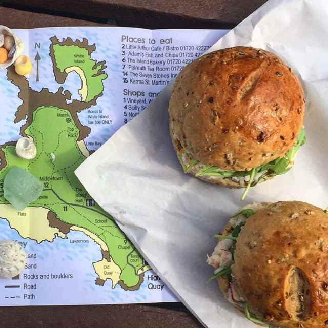 A crab sandwich on an organic granary bap from the Island Bakery on St Martins Scilly Islands