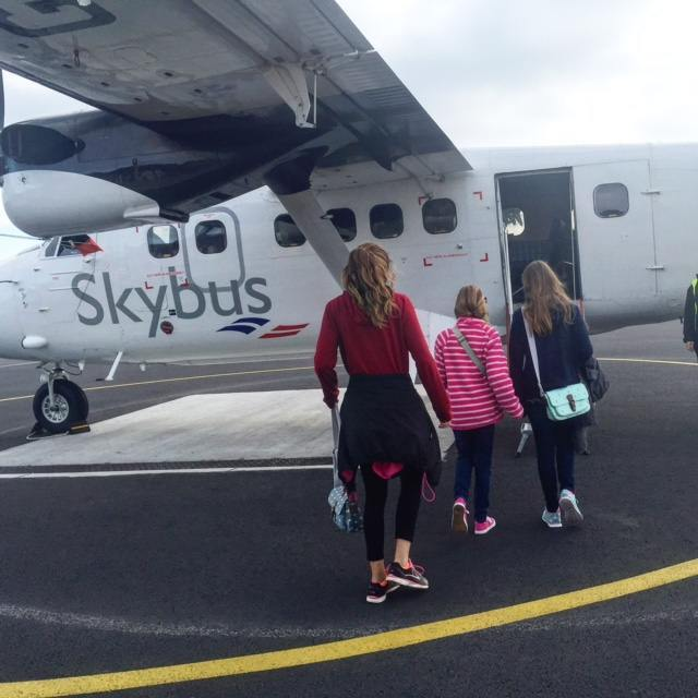 Boarding the Skybus Twin Otter, which seats 16 people!