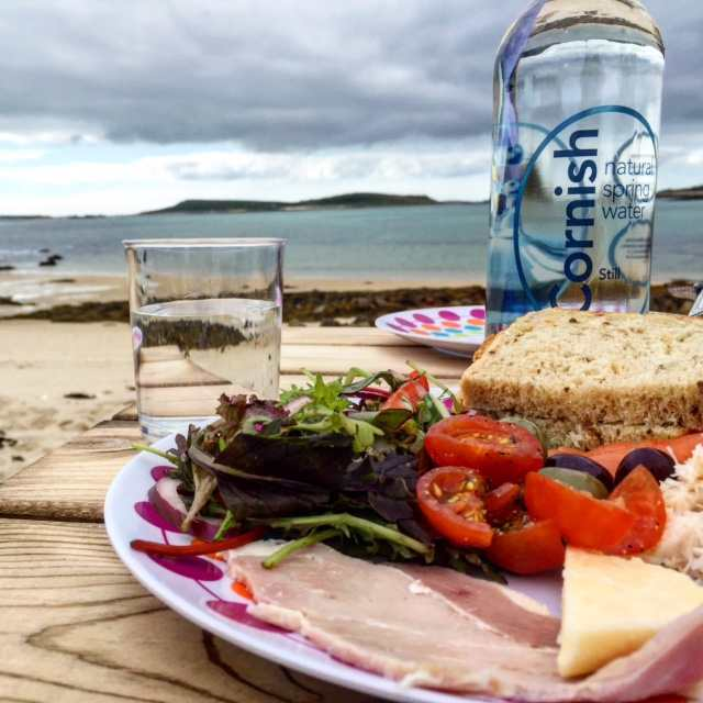 We preordered a picnic from our hotel and took it on a day out on Tresco. Once found a deserted beach to have lunch.