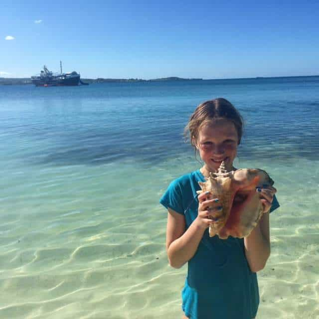 We had a grand ole time yesterday on D-Boat Antigua, a water amusement centre on a 140-foot refurbished oil tanker. #eliteislandfamilies In addition to the trampoline, water slide and Tarzan jumps, it included snorkelling on Maiden Island where we found this conch shell