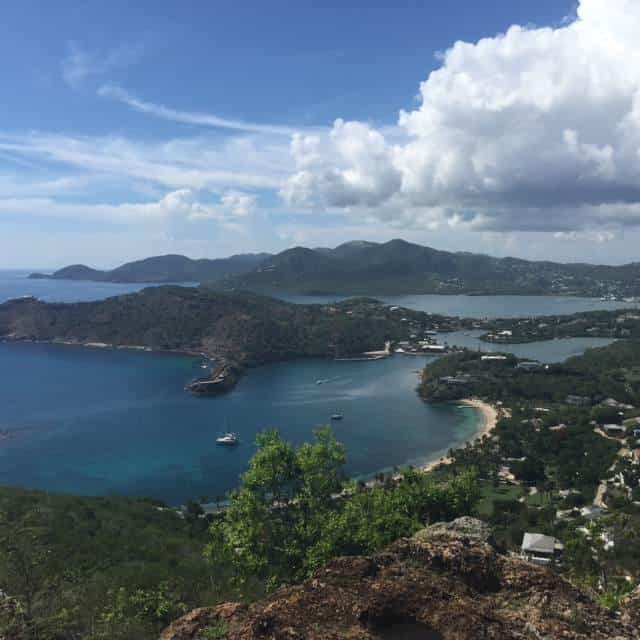 The view over English Harbour from Shirley Heights Lookout. A former military complex, it now offers some of the best views in Antigua and a weekly Sunday sunset party with steel pan, reggae and socca music