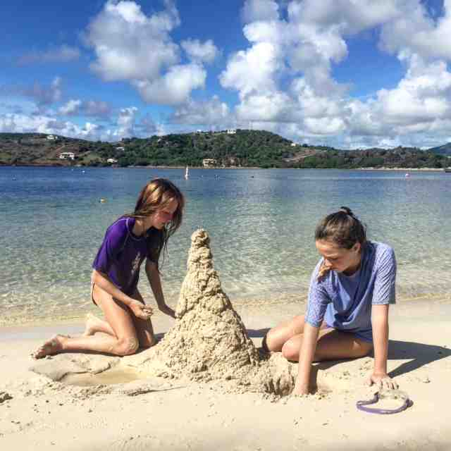Passing time building sandcastles on Mamora Beach at @stjamesclub #eliteislandfamilies #antigua #loveantiguabarbuda