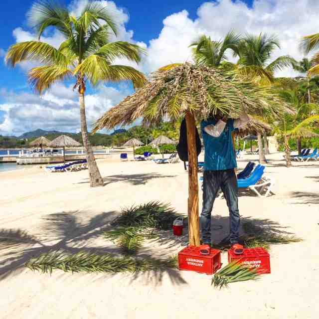 I think I'd like this job of fixing the palm umbrellas at St James's Club, Antigua
