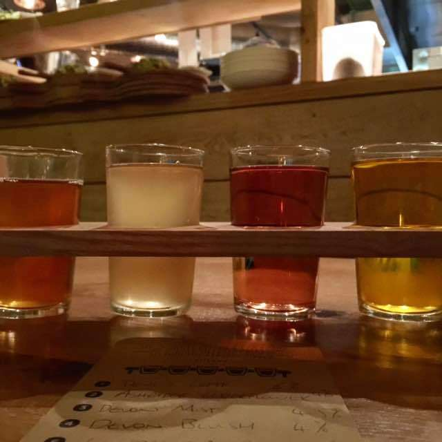 The Cider Tasting Board at The Stable is a fantastic experience. We got to try vintages like Devil's Leaf (with nettles), Ashridge Elderflower, cloudy Devon Mist and blackberry infused Devon Blush. The whole experience reminded me a bit of wine tasting in Napa.