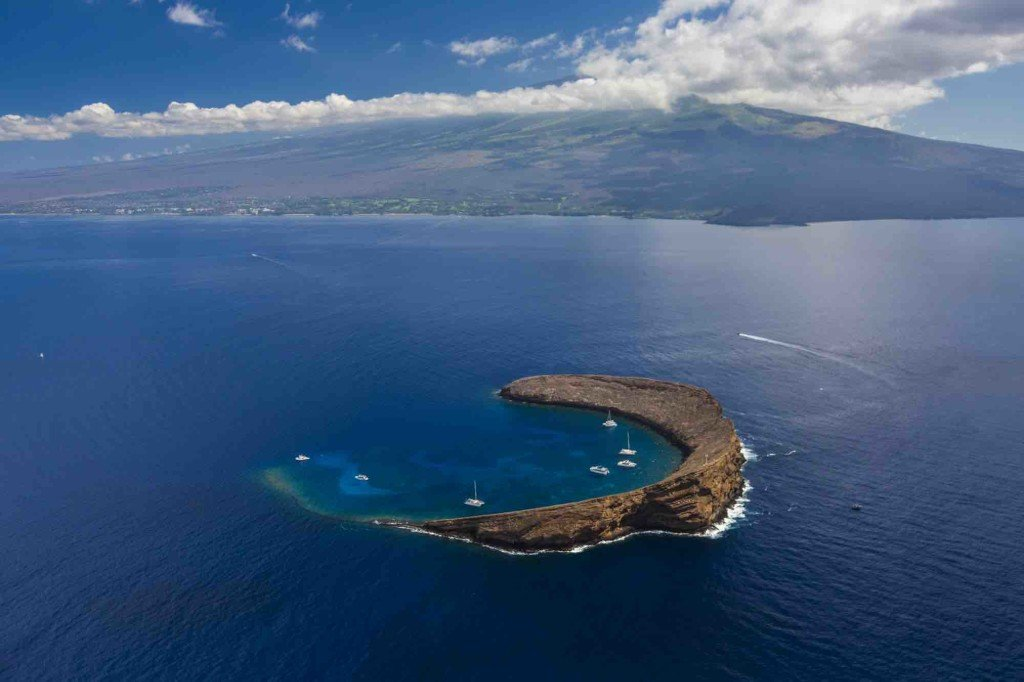 We're looking forward to going snorkelling! This is Molokini, a popular snorkelling spot from Maui (Photo credit: Hawaii Tourism Authority (HTA)/ Tor Johnson)