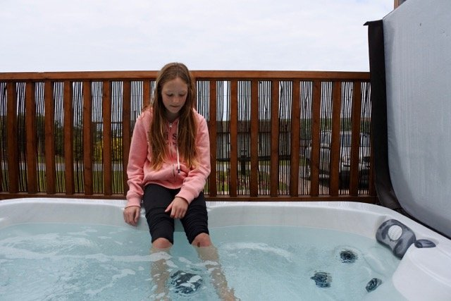Checking out the jacuzzi!