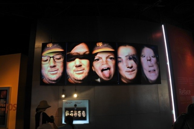 Reface, which uses state-of-the-art face-tracking software to mash pics of museum visitors and project them, large-than-life, on to the wall