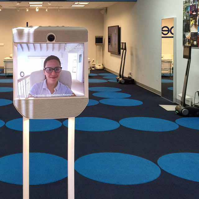 Staffed entirely by robots, the Beam Store's employees are located in remotely in locations around the work and operate robots equipped with screens, speakers and wheels that allow for full mobility and conversation