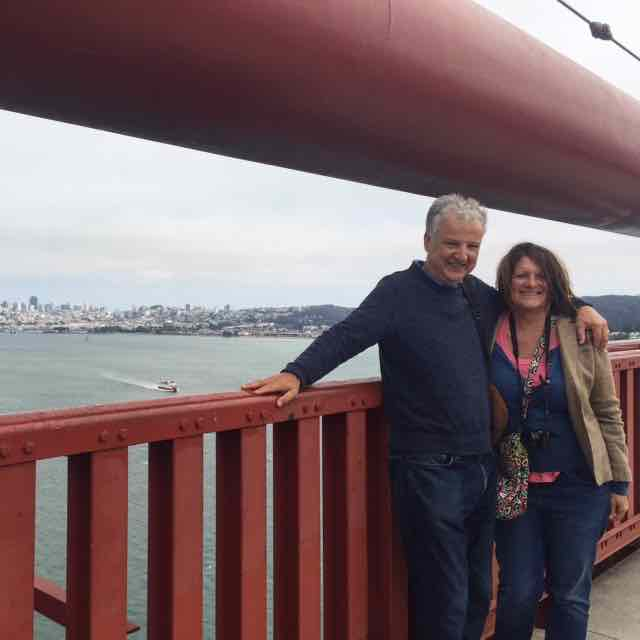 Mr and Mrs Modern on our walk over the Golden Gate Bridge. If you go make sure to wear layers as it can get very windy!!
