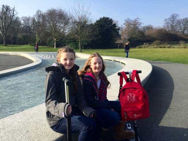 We took a break from scootering around Kensington Garden and Hyde Park to admire the Princess Diana memorial fountain.