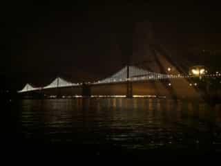 view of san francisco bay bridge lights from sinbads