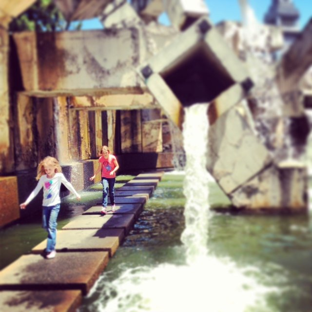 """Playing in the """"art"""" at the Embarcadero Center. Very cool!"""