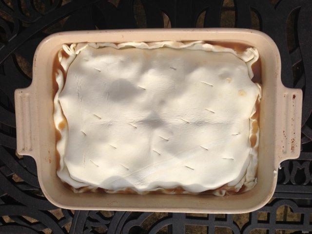 pastry over tart tatin
