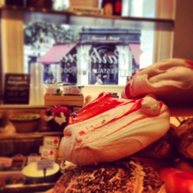The strawberry meringues at Carluccio's in Covent Garden are to die for! They have good Italian food too.