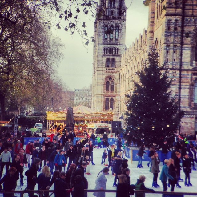 "We enjoyed ice skating in front of the Natural History Museum. Nothing say ""festive"" more than this!"