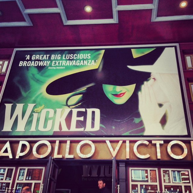 We stopped at the Apollo Victoria Theatre to catch a matinee of Wicked. Playing since 2003, it tells the story of the Wizard of Oz from the  witches point of view.