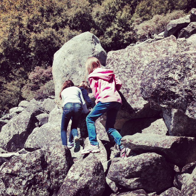 Michael taught the girls the safest way to climb rocks, including climbing at a diagonal, so if you unearth a rock it doesn't fall on a fellow climber.