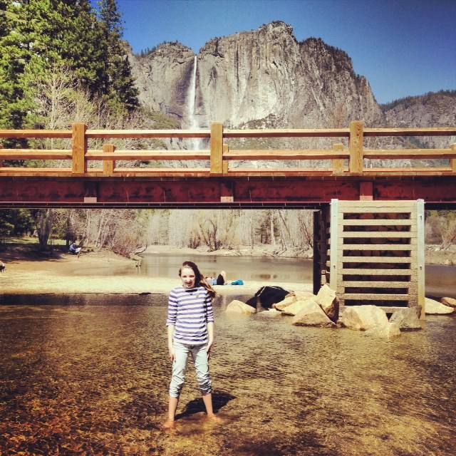 We hired bikes from the Lodge at Yosemite Falls and stopped by Yosemite bridge to cool our feet in the Merced river.