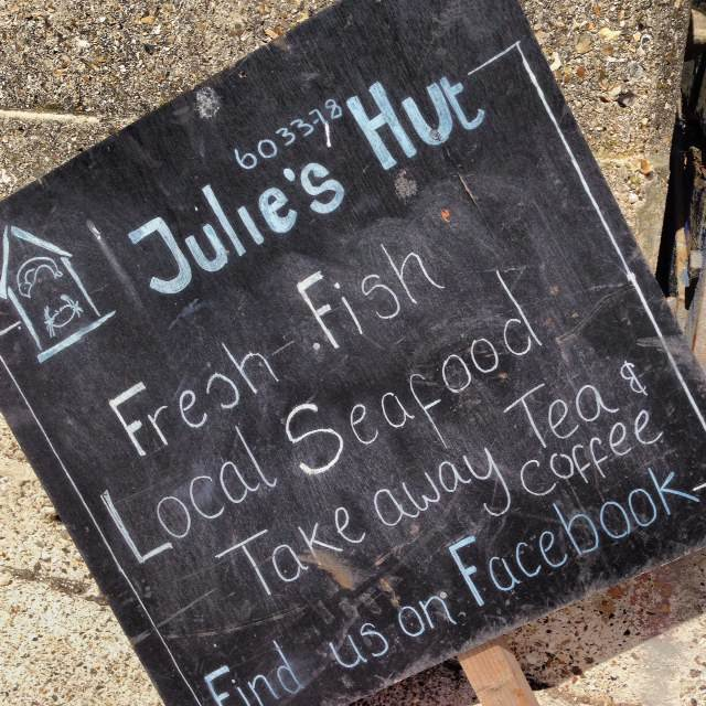 This place is AWESOME! At Julie's Hut in East Beach, Selsey, you can get freshly caught and dressed Selsey crab for £5.50 and eat it on the beach.