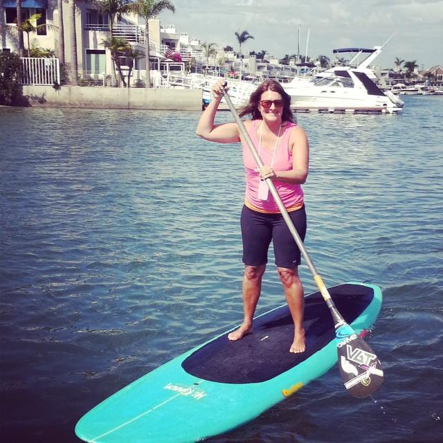 Whoop-whoop! Look at me stand up paddle boarding! This new sport originated in Hawaii and is a great workout for core muscles.