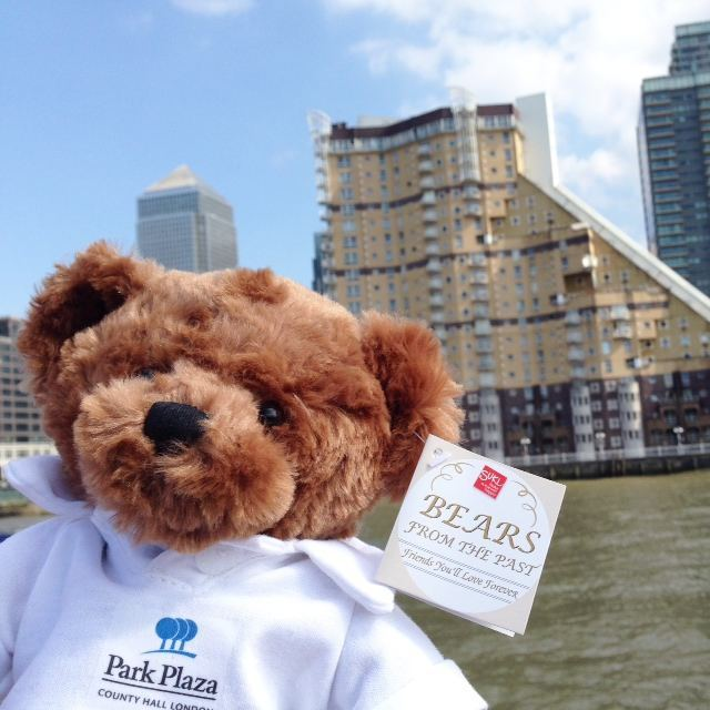 Our Park Plaza bear enjoying himself on a City Tours boat ride near Canary Wharf!