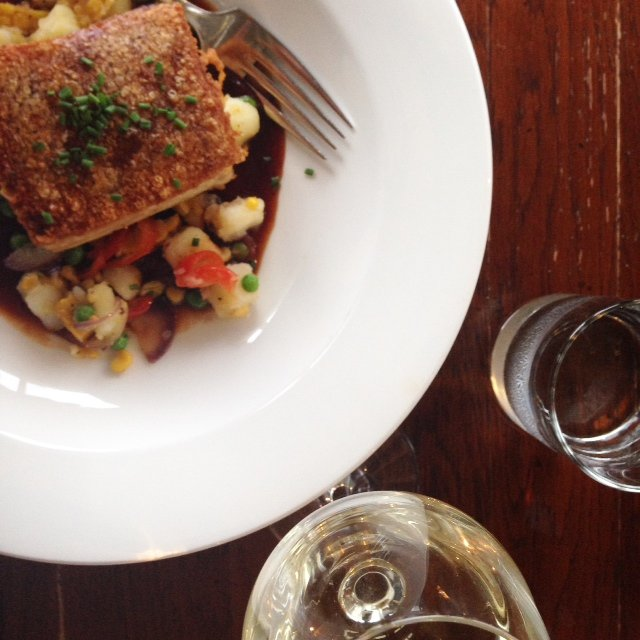 Enjoying Ayrshire pork belly with corn succotash and BBQ sauce at @LakeofMenteith