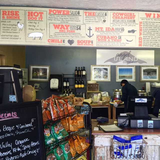 The cafe on Angel Island serves organic hot dogs, chili and artisan cheeses!