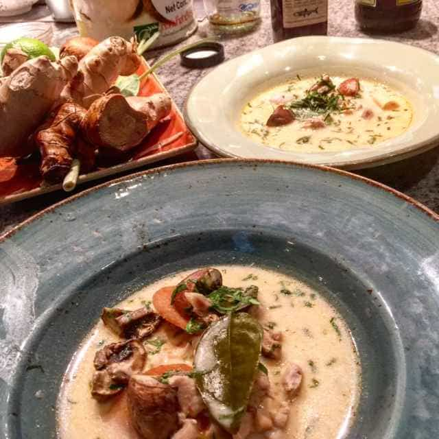 Chef Josh Andersen taught us how to make Tom Kha Gai at the Culinary Institute of America at Greystone in Napa. The best part is sampling the soup, which comes with a glass of wine or sparkling apple juice for under 21s. Kids 12 and under free with a paying adult. It's a