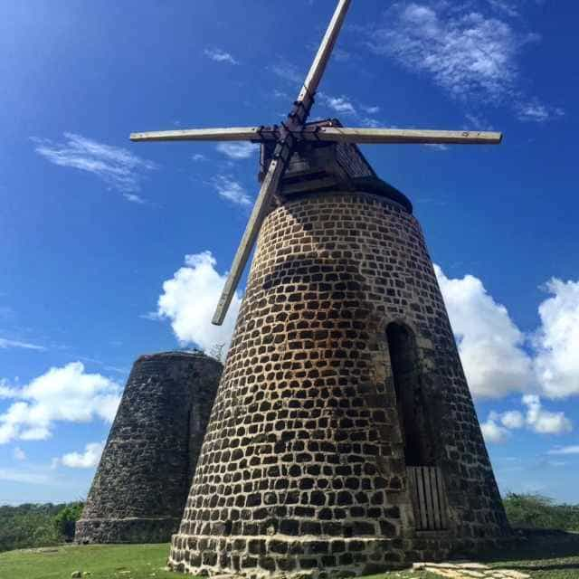 The famous windmills at Betty's Hope, a partly restored sugar plantation in Antigua. The open air museum gives fascinating insight into Antigua's past under British Colonial rule.