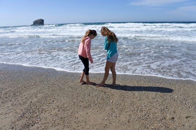 Getting our toes wet in the Atlantic Ocean