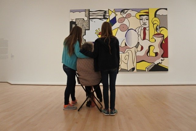 Took my 82-year-old mother to the new San Francisco Museum of Art today. The museum loans cane seats free of charge - which came in really handy when admiring artwork.