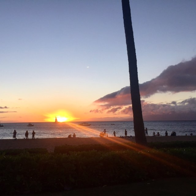 Sunset poolside at Kaanapali Beach, Maui