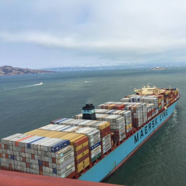Saw this container ship enter San Francisco Harbour on our walk over the Golden Gate Bridge. I wonder what is in all those containers!