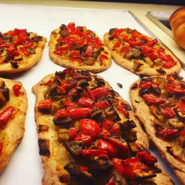 One of my favourite snacks in Costa Barcelona - Coca d'escalivada - roasted red peppers, aubergine and onion on pastry.
