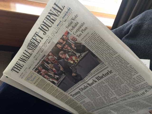 My husband was VERY pleased to get a choice of complimentary newspapers.